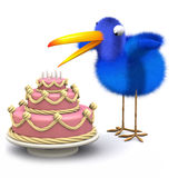 3d Blue bird has a lovely cake Stock Images