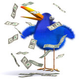 3d Blue bird hits the jackpot. 3d render of a bluebird surrounded by falling dollar bills Stock Photo