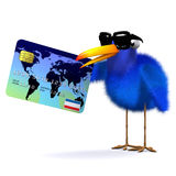 3d Blue bird pays with a credit card. 3d render of a blue bird with a credit card Stock Photo