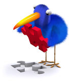 3d Blue bird puzzle. 3d render of a blue doing a jigsaw puzzle Stock Photo