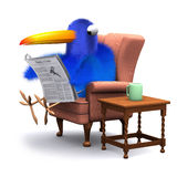 3d Blue bird reads the paper in a comfortable chair. 3d render of a blue bird sitting reading the newspaper Royalty Free Stock Images