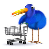 3d Blue bird with a shopping trolley Stock Photo