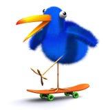 3d Blue bird skateboard. 3d render of a blue bird on a skateboard Royalty Free Stock Photography