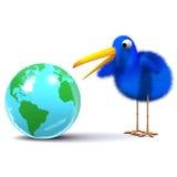 3d Blue bird studies a globe of the Earth. 3d render of a globe of the Earth Royalty Free Stock Photography