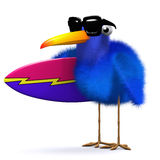 3d Blue bird with surfboard Royalty Free Stock Photos