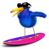 3d Blue bird surfing. 3d render of a blue bird surfing Royalty Free Stock Photos