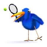 3d Blue bird tennis Royalty Free Stock Photos