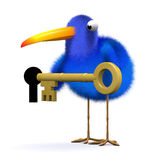 3d Blue bird unlocks the door. 3d render of a blue bird holding a gold key next to a key hole Royalty Free Stock Photos