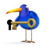 3d Blue bird unlocks the door Royalty Free Stock Photos