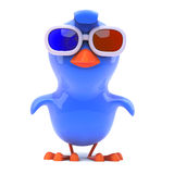 3d Blue bird wearing 3d glasses Stock Photos