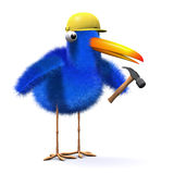 3d Blue bird works in construction Stock Image