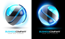 3D Blue Business Logo. With abstract spheres and light glow around them Stock Images
