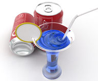 3d blue CAFFEINE cane and blue liquid in glass with straw and lemon concept Stock Image