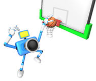 3D Blue camera basketball player Vigorously jumping Stock Photography