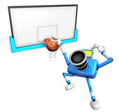 3D Blue camera basketball player Vigorously jumping Royalty Free Stock Image