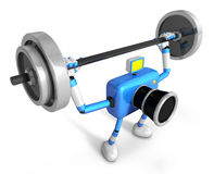 3D Blue Camera character is doing powerful Weightlifting Exercises Royalty Free Stock Photo
