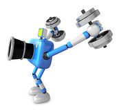 3D Blue Camera character a Dumbbell Kick Back Exercise. Create 3 Royalty Free Stock Images
