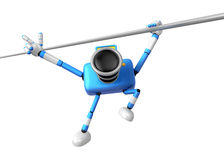 3D Blue Camera character a Powerful Chin up Exercise. Create 3D Royalty Free Stock Photography