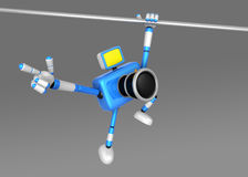 3D Blue Camera character a Powerful Chin up Exercise Stock Images