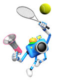 3D Blue Camera character is a powerful tennis game play exercise Stock Photos