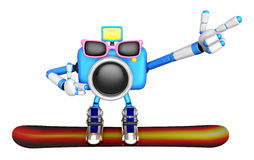 3d Blue Camera Character snowboard a riding. Create 3D Camera Ro Stock Photo