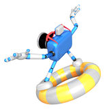 3d Blue Camera character surfing on lifebuoy. Create 3D Camera R Royalty Free Stock Photography