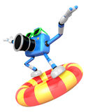 3d Blue Camera character surfing on lifebuoy. Create 3D Camera Royalty Free Stock Photos