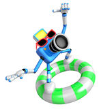 3d Blue Camera character surfing on lifebuoy Stock Photography