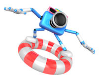 3d Blue Camera character surfing on lifebuoy Stock Photo