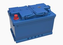 3D blue car battery with blue handles and red and blue terminals. On white Royalty Free Stock Photo