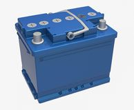 3D blue car battery with gray handle and gray terminals on white.  Stock Images