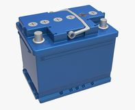 3D blue car battery with gray handle and gray terminals on white.  Stock Photo