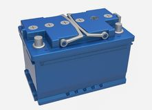 3D blue car battery with gray handles and gray terminals on whit. E Royalty Free Stock Photo