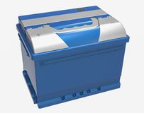 3D blue car battery with gray terminal covers on white.  Royalty Free Stock Photography
