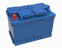 3D blue car battery with handles and red and blue terminals on w. Hite Stock Images
