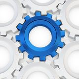 3d blue cog with white crowd. On white background Royalty Free Stock Images