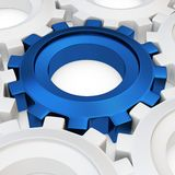 3d blue cog with white crowd. On white background Royalty Free Stock Photos