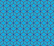 3d Blue contour abstract geometrical cubes seamless pattern background Royalty Free Stock Image