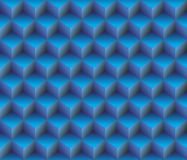 3d Blue contour abstract geometrical cubes seamless pattern background Stock Images