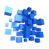 3d Blue cube design. 3d render of a collection of blue cubes Royalty Free Stock Photo