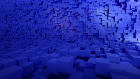 3d blue cubes background, 3d rendering. Two planes with a lot of blue cubes for backgrounds Stock Photos