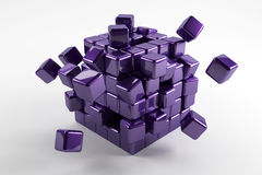 3d blue cubes fallen down in different directions. Abstract refl Royalty Free Stock Image