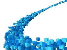 3d blue cubes futuristic design Stock Photo
