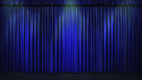 3d blue curtain lit by spot lights.  Royalty Free Stock Image