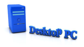 3d blue desktop pc Royalty Free Stock Photos