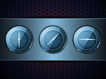 3D blue dialson on brushed metallic panel Royalty Free Stock Photos
