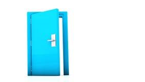 3d blue door. Open blue door on white background Royalty Free Stock Photo