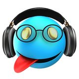 3d blue emoticon smile. 3d illustration of blue emoticon smile with black headphones over white background Royalty Free Stock Photography