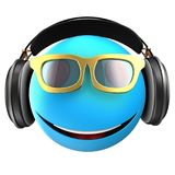 3d blue emoticon smile. 3d illustration of blue emoticon smile with black headphones over white background Royalty Free Stock Photos