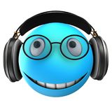 3d blue emoticon smile. 3d illustration of blue emoticon smile with black headphones over white background Stock Image